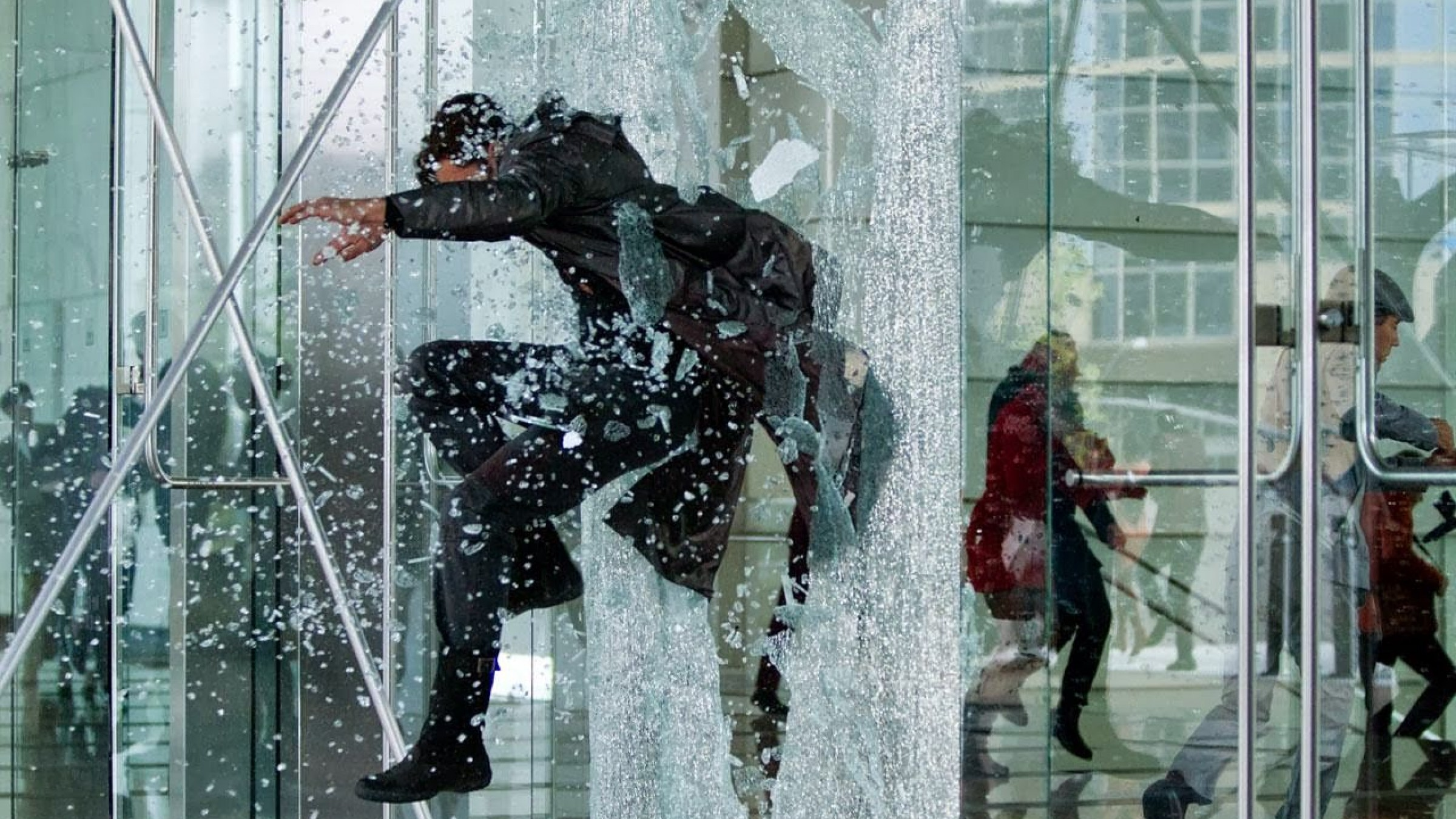 Stunt Movie Toughened Glass jumping through glass