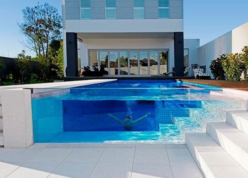 glass swimming pool pretty