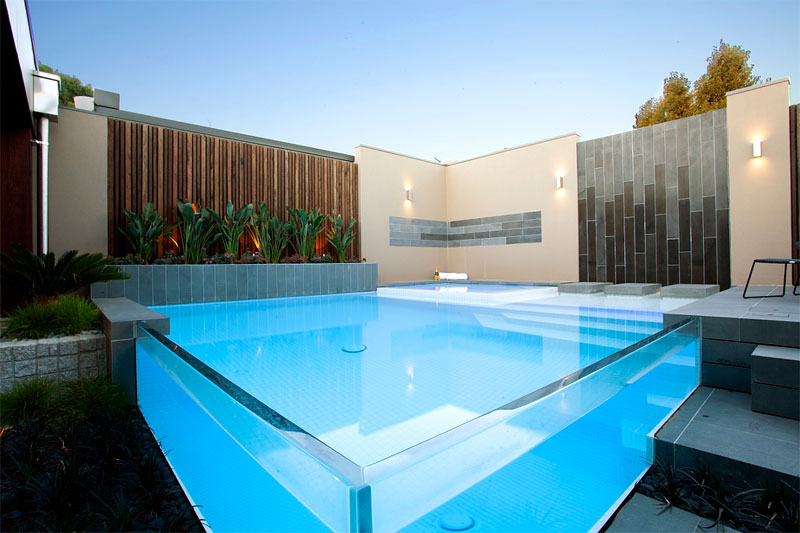 square glass pool